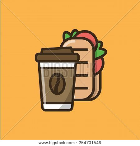 Coffee Drink In Paper Cup With Cap And Ciabatta Sandwich. Colorful Isolated Vector Icon In Flat Styl