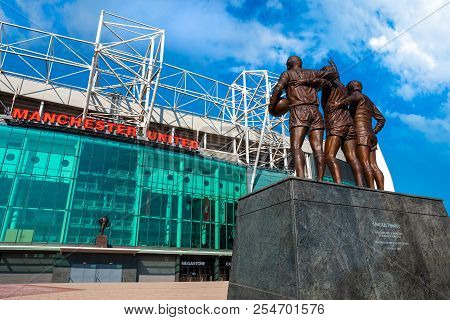 Manchester, Uk - May 19 2018: Manchester, Uk - May 19 2018: The United Trinity Bronze Sculpture Whic