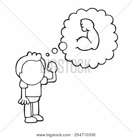 Vector Hand-drawn Cartoon Illustration Of Man Standing Dreaming Of Being Muscular.