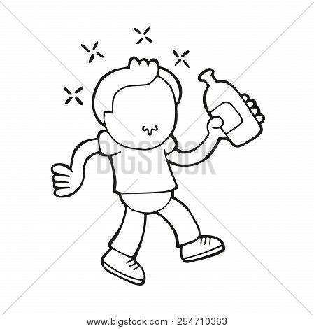 Vector Hand-drawn Cartoon Illustration Of Drunk Man Walking Holding Bottle Of Beer.