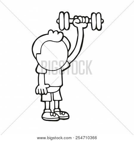 Vector Hand-drawn Cartoon Illustration Of Man Standing Pumping Dumbbells