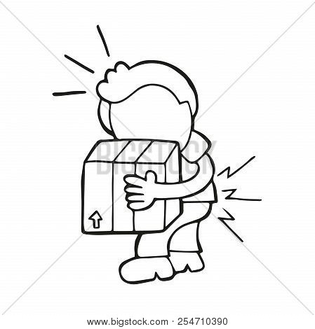 Vector Hand-drawn Cartoon Illustration Of Man Walking Carrying Heavy Box And Get Pain From Backache.