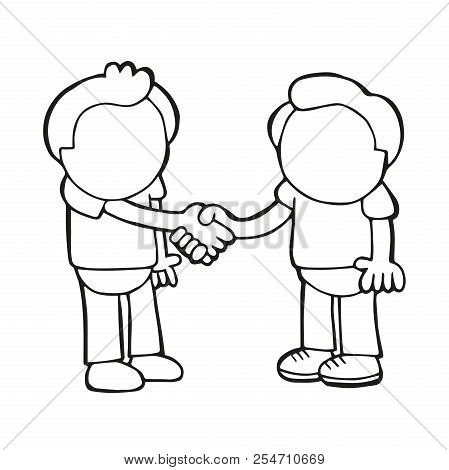 Vector Hand-drawn Cartoon Illustration Of Two Men Standing Shaking Hands.