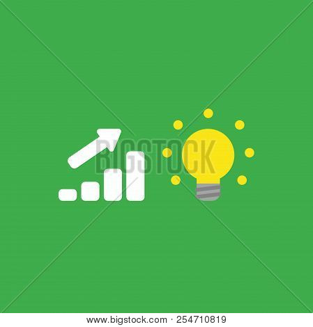 Flat Vector Icon Concept Of Sales Bar Graph Moving Up With Glowing Light Bulb On Green Background.