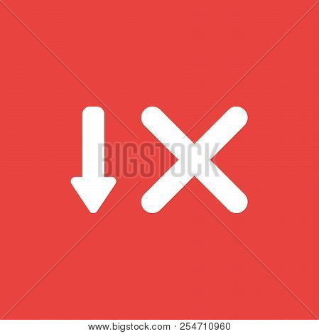 Flat Vector Icon Concept Of Arrow Moving Down And X Mark On Red Background.