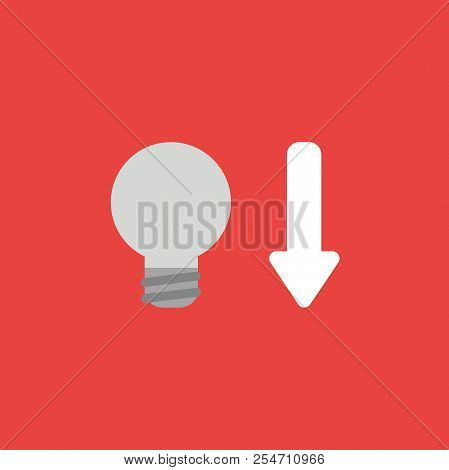 Flat Vector Icon Concept Of Grey Light Bulb With Arrow Moving Down On Red Background.