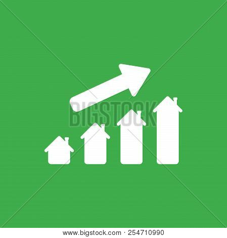 Flat Vector Icon Concept Of House Graph Moving Up On Green Background.