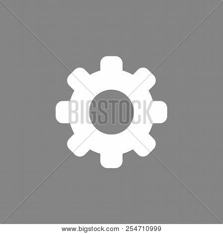Flat Vector Icon Concept Of Gear On Grey Background.