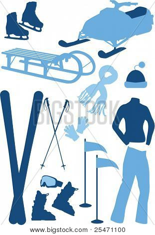Winter sport equipment, winter clothes, vector illustration