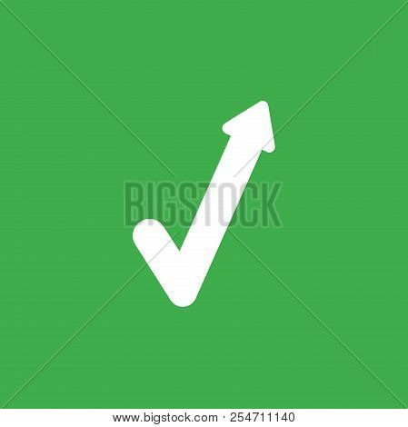 Flat Vector Icon Concept Of Check Mark With Arrow Moving Up On Green Background.