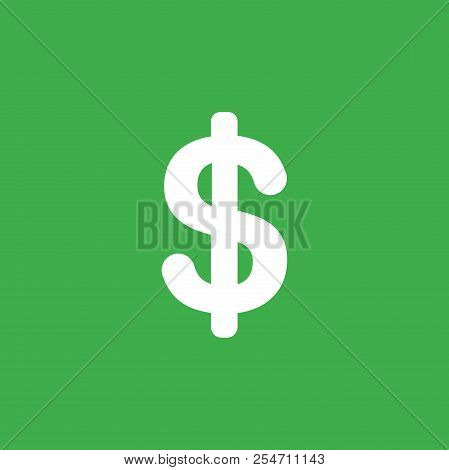 Flat Vector Icon Concept Of Dollar Symbol On Green Background.