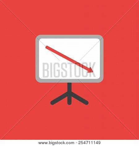 Flat Vector Icon Concept Of Sales Chart With Arrow Moving Down On Red Background.