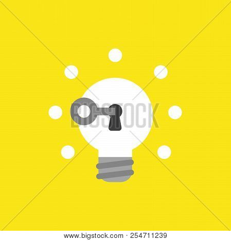 Flat Vector Icon Concept Of Key Unlock Glowing Light Bulb Keyhole On Yellow Background.