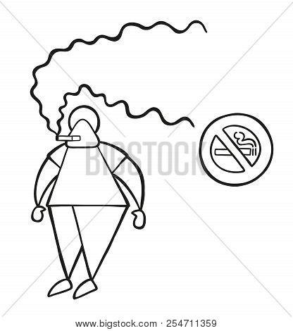 Vector Illustration Cartoon Man Character Smoking Cigarette Beside No Smoking Sign.