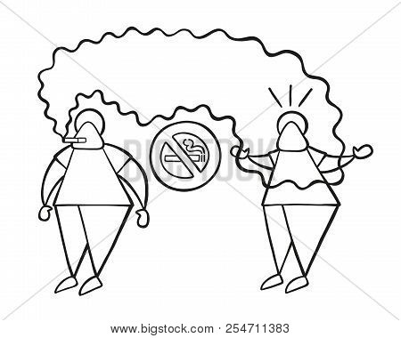 Vector Illustration Cartoon Man Character Smoking Cigarette Where Smoking Is Prohibited And Other Ma