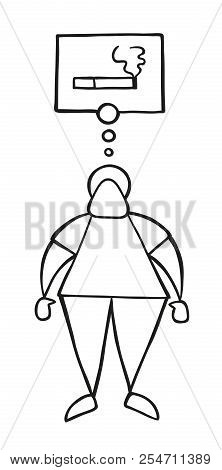 Vector Illustration Cartoon Man Character Standing And Thinking Smoking Cigarette With Thought Bubbl