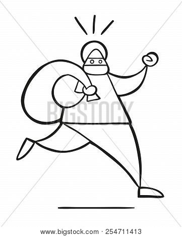 Vector Illustration Cartoon Thief Man With Face Masked Running And Carrying Sack.