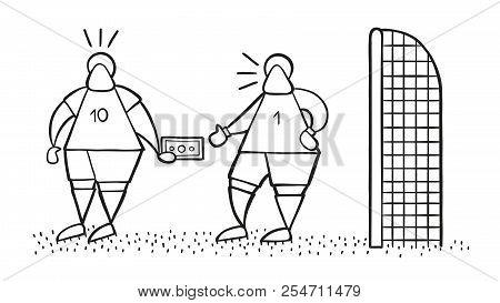 Vector Illustration Cartoon Soccer Player Man Giving Bribe And Goalkeeper Taking Money.