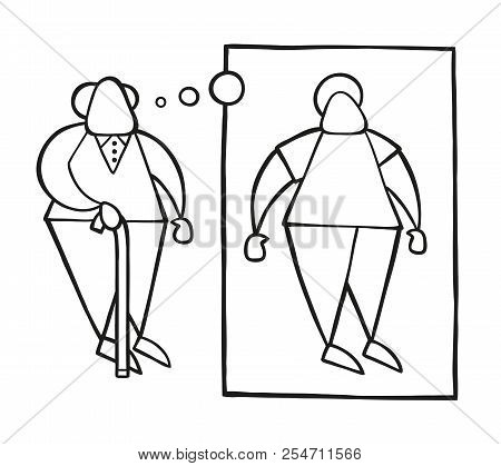 Vector Illustration Cartoon Old Man Standing With Wooden Walking Stick And Dreaming Or Thinking His