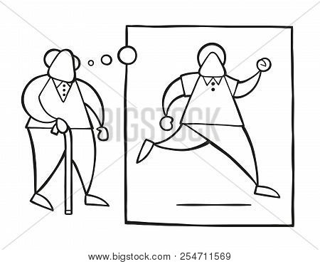 Vector Illustration Cartoon Old Man Walking With Wooden Walking Stick And Dreaming Or Thinking His Y