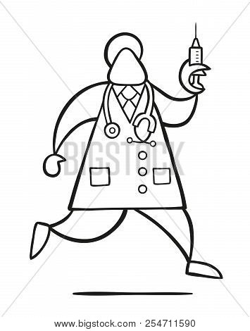 Vector Illustration Cartoon Doctor Man With Stethoscope And Running, Holding Syringe Ready For Injec