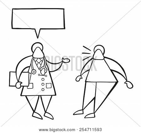 Vector Illustration Cartoon Doctor Man Holding Folder And Talking To His Patient With Blank Speech B