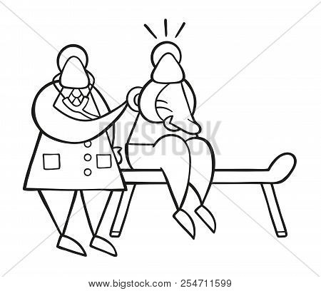 Vector Cartoon Doctor Man Listening Patient's Back With Stethoscope