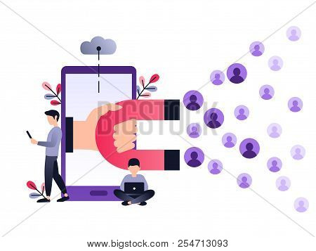 Social Media Ultra Violet Concept Vector Illustration With Magnet Engaging Followers And Likes. Inbo