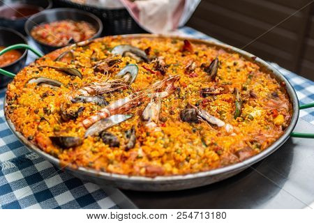 Huge Paella Pan Plate With Seafood And Rice Traditional Spanish Food