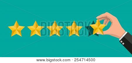 Hand Puts Rating. Reviews Five Stars. Testimonials, Rating, Feedback, Survey, Quality And Review. Ve