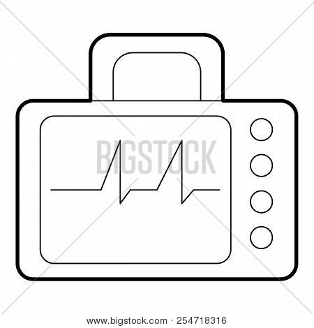 Monitor With Cardiogram Icon. Outline Illustration Of Monitor With Cardiogram Icon For Web