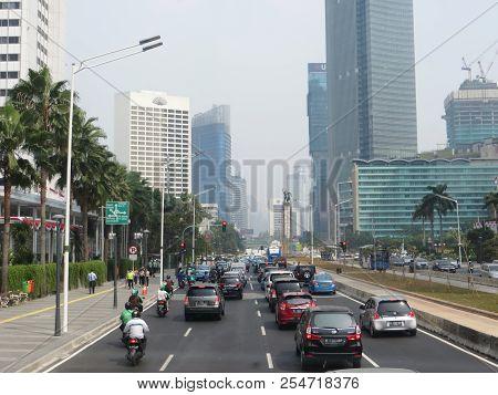 Jakarta, Indonesia - August 2, 2018: Traffic On Jalan Thamrin Thamrin Road.