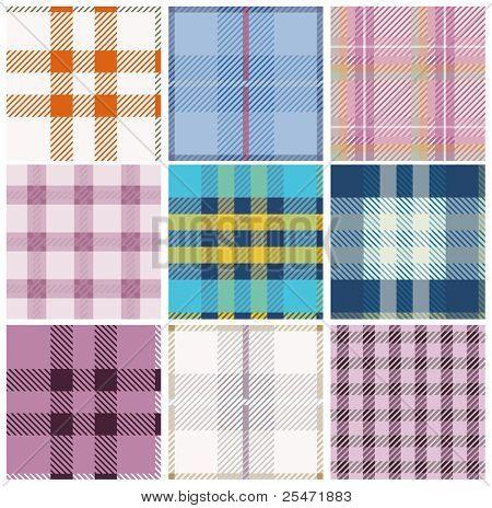 Tartan fabrics with seamless repeat background pattern
