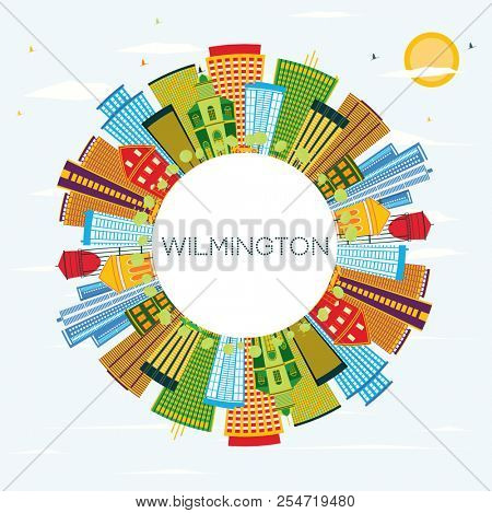 Wilmington Delaware City Skyline with Color Buildings, Blue Sky and Copy Space. Business Travel and Tourism Concept with Modern Buildings. Wilmington Cityscape with Landmarks.