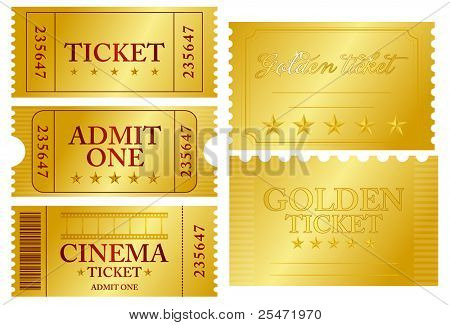 Various golden ticket set, vector illustration