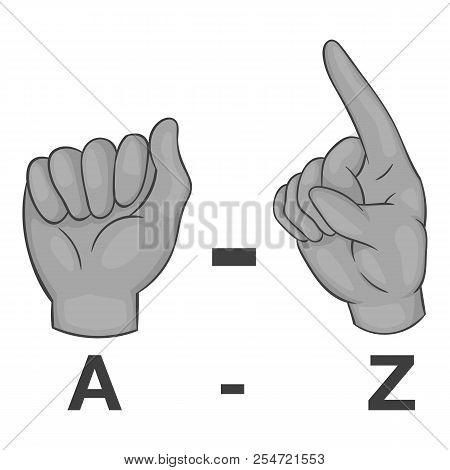 Language Of Gestures Icon. Gray Monochrome Illustration Of Language Of Gestures Icon For Web