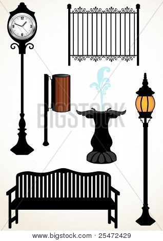 Park elements, bench, lamp, watch, trash can, fence and fountain