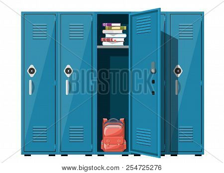 Blue Metal Cabinets. Lockers In School With Silver Handles And Locks. Safe Box With Doors, Cupboard,