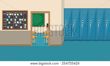 Empty School Interior, Open Door In Classroom. Vector Illustration In Flat Style