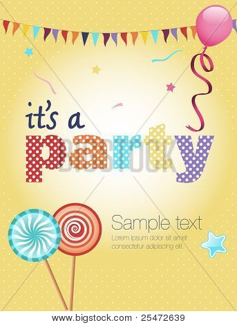 Colorful party invitation, with balloon, lollipops and flags