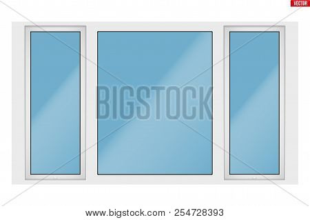 Metal Plastic Pvc Big Window With Three Sash And Two Opening Casement. Outdoor View. Presentation Of