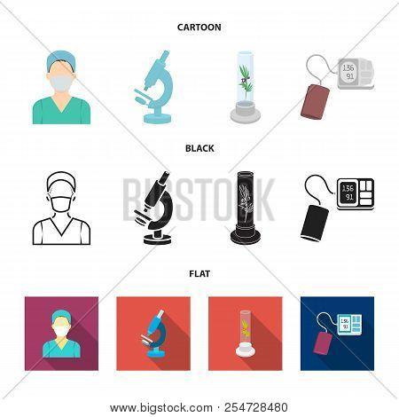 Plant In Vitro, Nurse, Microscope, Tonometer. Medicine Set Collection Icons In Cartoon, Black, Flat