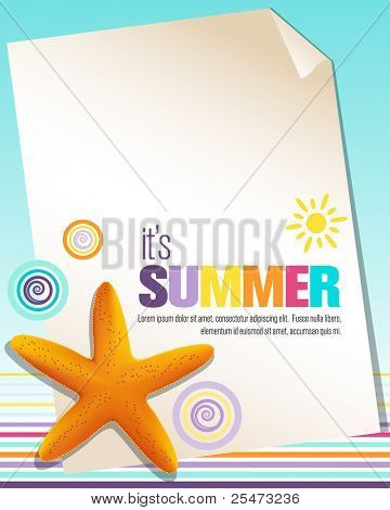 Colorful summer background with starfish
