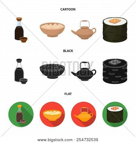 Soy Sauce, Noodles, Kettle.rolls.sushi Set Collection Icons In Cartoon, Black, Flat Style Vector Sym