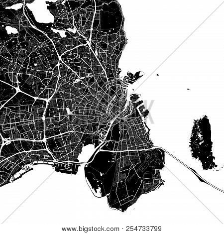 Area Map Of Copenhagen, Denmark. Dark Background Version For Infographic And Marketing Projects. Thi
