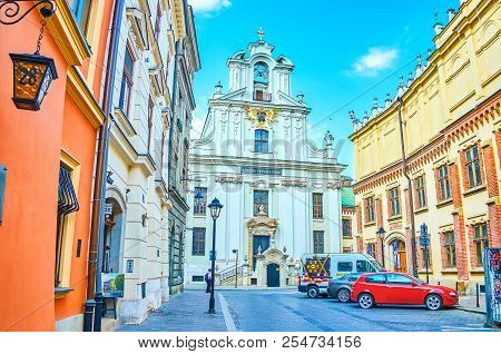 Krakow, Poland - June 11, 2018: The Church Of Transfiguration The Christ Standing On The Crossroad W
