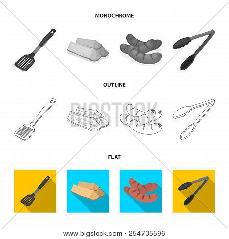 Blade Kitchen, Firewood, Sausages And Other For Barbecue.bbq Set Collection Icons In Flat, Outline,
