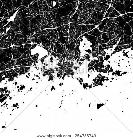 Area Map Of Helsinki, Finland. Dark Background Version For Infographic And Marketing Projects. This