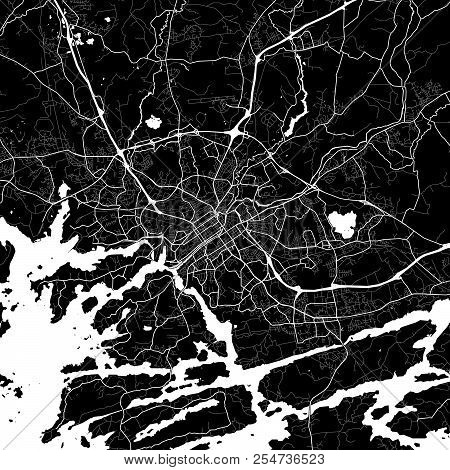 Area Map Of Turku, Finland. Dark Background Version For Infographic And Marketing Projects. This Map
