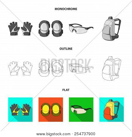 Gloves, Elbow Pads, Goggles, Cyclist Backpack.cyclist Outfit Set Collection Icons In Flat, Outline,